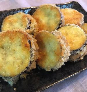 【ナスのベーコンはさみ揚げ】からし醤油で箸が止まらない美味しさ!