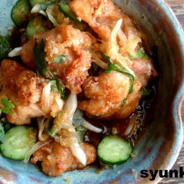 【簡単カフェごはん】鶏のからあげのさっぱり薬味おろし和え定食