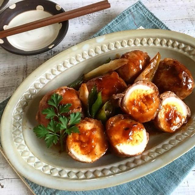 肉巻き玉子の甘辛にんにく味噌だれ〜丸いものを焼くポイント〜今日の作り置き〜減塩