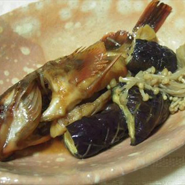 カラコの煮つけ・萩焼の器2種