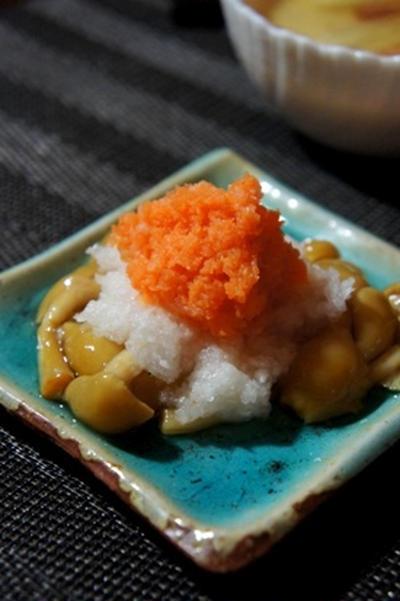 自家製豆腐のミョウガ梅餡、ナメコの2色おろし和え、鰺の大葉味噌焼きで