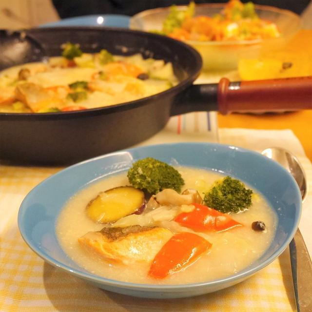 【うちレシピ】鮭とさつまいものクリームチャウダー