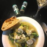 タラとじゃが芋とブロッコリーのスープ。