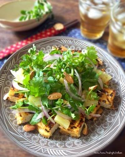 【レシピ】パクチーと厚揚げのアジアンサラダ。