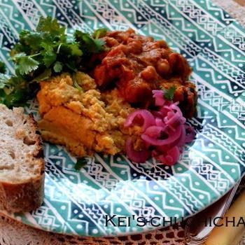 ひよこ豆とお茄子のインド風カレー