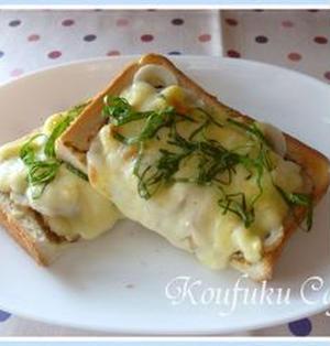 海苔の佃煮とちくわの和トースト