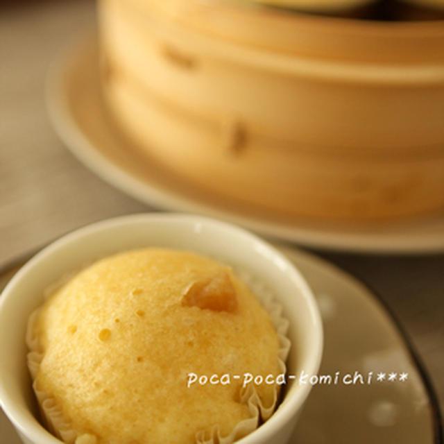 りんご&豆乳入り♪メープル蒸しパン。