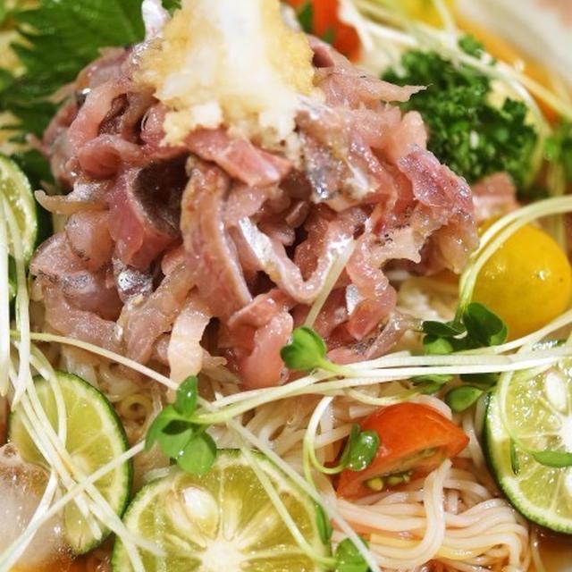 ■夏麺【鯵のタタキとスダチでぶっかけ素麺】徳島からみかんとスダチが届きました♪
