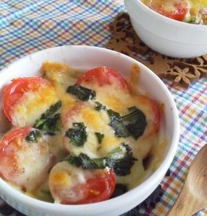 プチトマトとオクラのチーズ焼き