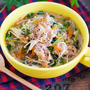 下茹で不要♪ヘルシー&栄養満点♪『豚バラと豆苗の具沢山♡はるさめスープ』