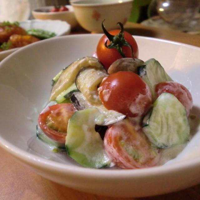 ナスとキュウリのヨーグルトサラダ*鶏チリの晩ごはん
