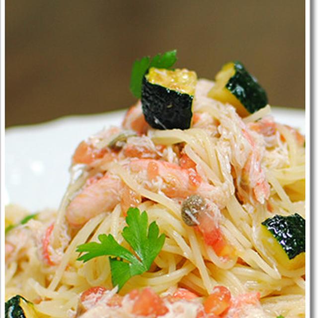 ずわい蟹とズッキーニの冷製カペッリーニ