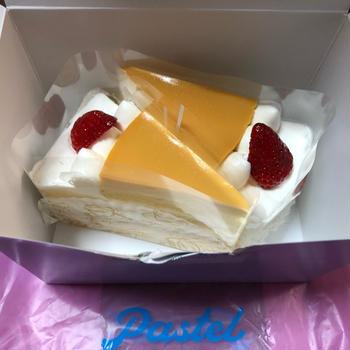 誕生日にパステルのカットケーキ♪