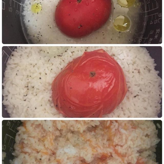 うわさのトマトごはん作ってみた(((o(*゚▽゚*)o)))