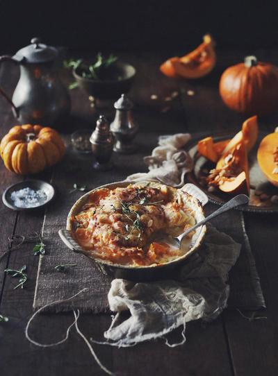 かぼちゃとじゃがいものミルフィーユグラタン