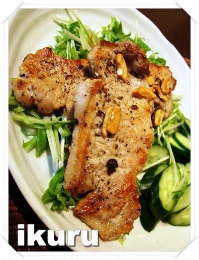 みず菜と豚ロースのペペロンソテー☆