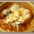 サイゲン大介レシピ『トマト鍋の素で濃厚エビのビスク鍋』〆はオニオングラタンスープ風!?