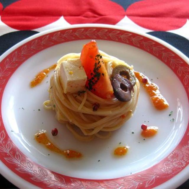 トマトと赤ピーマンのカッペリーニ。
