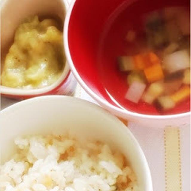 262日目-2 えびピラフ85g+野菜のブイヨン煮+醤油+バナナ1/4本+さつまいも10g+粉ミルク(ミルフィー)