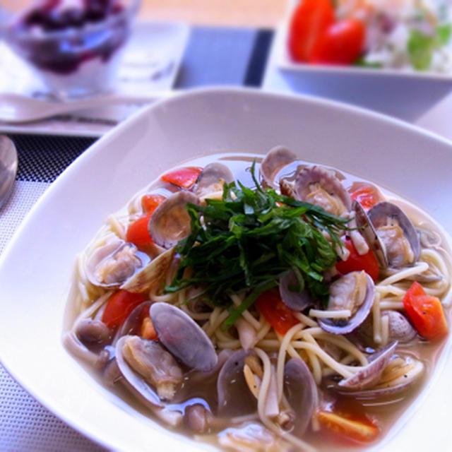 糖質0g麺のアサリのスープパスタ