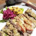 お安いお肉もスパイスでおいしく!簡単☆牛カツ風グリルステーキ&ワンコ