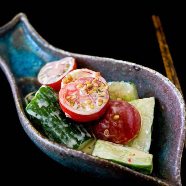 《レシピ》叩ききゅうりとトマトのピリ辛和え。