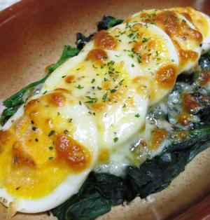 ほうれん草とゆで卵のチーズ焼き
