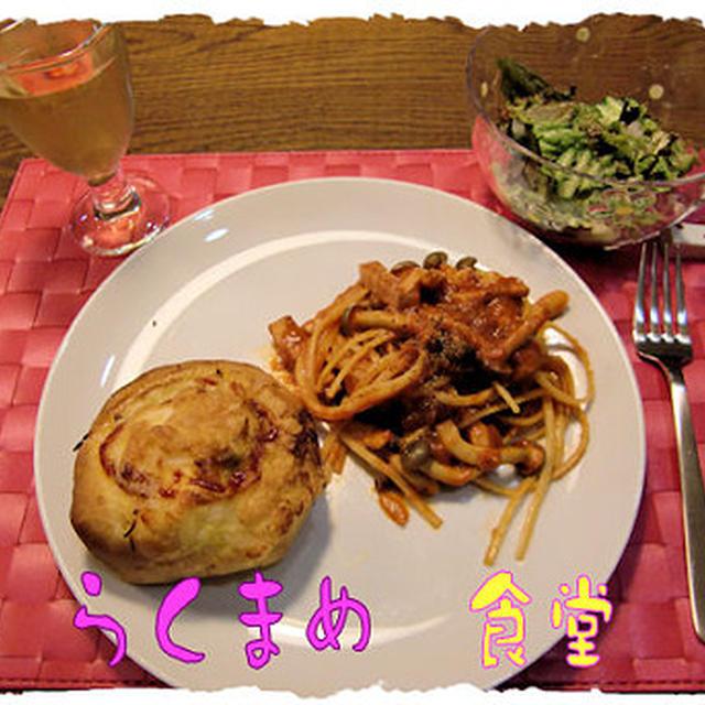厚切りベーコンパスタとロールパン♪の定食♪ワインつき