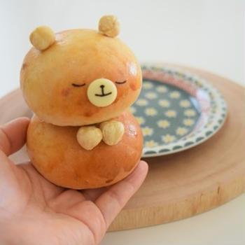 30分丸パンで♪ぽっちゃりくまパン♡