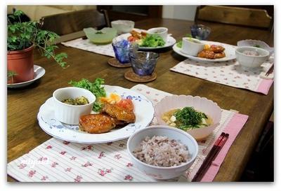 鶏手羽の甘辛揚げ&きゅうりと豆腐の冷や汁など