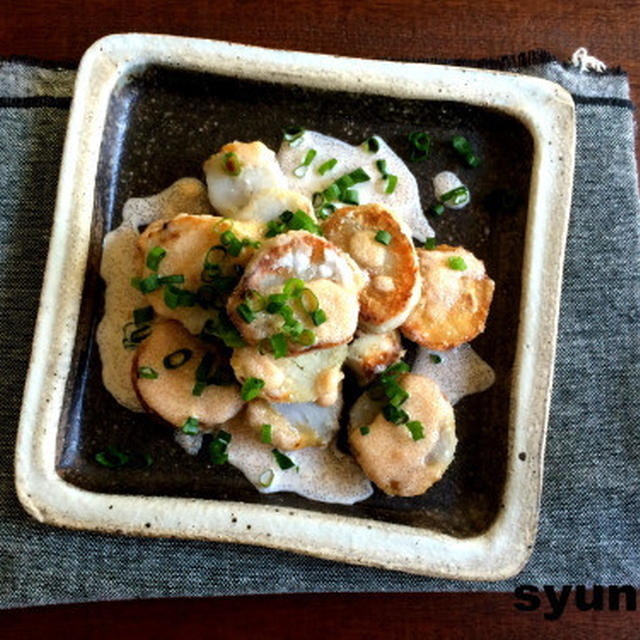【簡単!!里芋レシピ】止まらない味です。里芋フライの明太マヨソースがけ