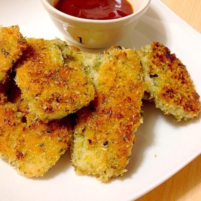 青海苔の風味が美味しい鶏肉のパン粉焼き✨✨