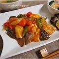 トマト・鶏胸・砂肝の酢鶏風・温野菜の簡単カニカマあんかけ・ツナの中華風サラダの中華献立 by strawberry-macaronさん
