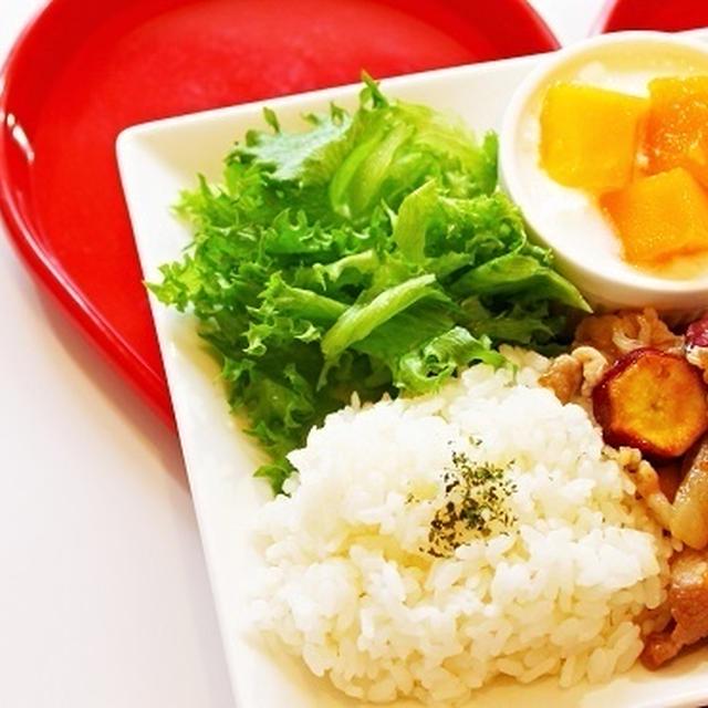 【女子力アップレシピ☆】豚肉とサツマイモのママレード炒めのワンプレート☆