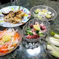 9月14日献立☆サバをスダチで〆てみた☆やっぱりお魚と野菜が中心の献立5品。今日はスゴい雷雨★