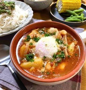 【鶏肉とじゃがいものトマト温玉スープ】#おかずスープ#栄養満点スープ#免疫力アップ