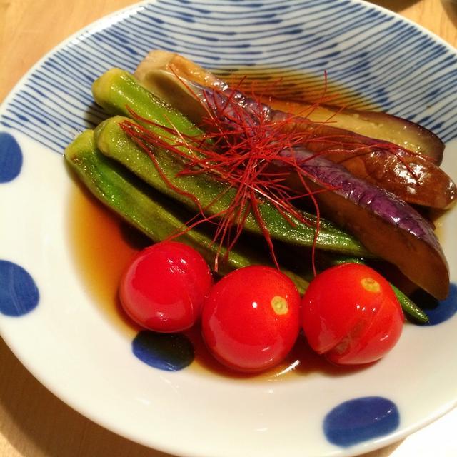 常備菜に!じゅわ〜っとしみしみ!ナスとオクラとミニトマトの焼き浸し