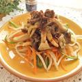 牛肉とエリンギのあらびきガーリック醤油炒め
