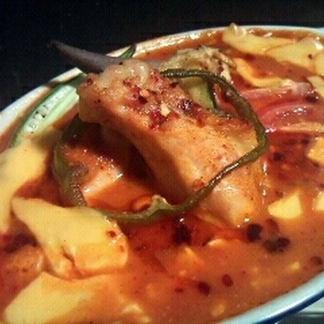塩豆腐と鶏肉のキムカレー