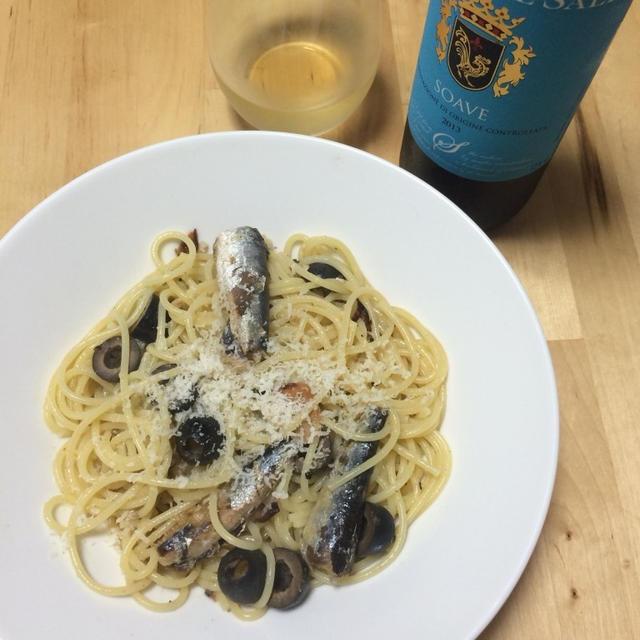 オイルサーディンのパスタ レモン風味×イタリアの白