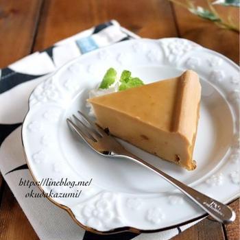 【レンジで5分!】大人のカフェオレチーズケーキ(オーブンで焼いてもOK)