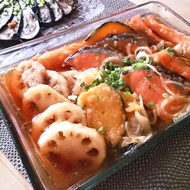 鮭と彩野菜の南蛮漬け~お義父さんへの荷物