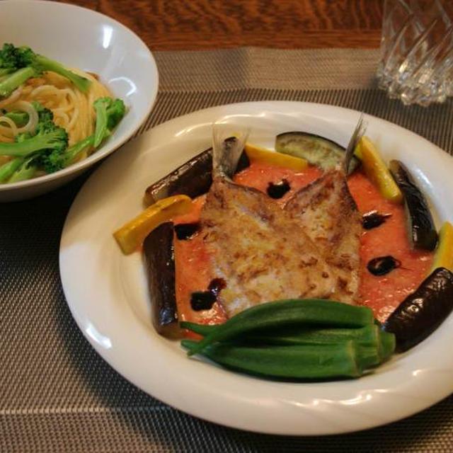 イワシのトマトソースとシンプルパスタの晩ごはん