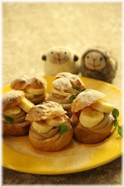 キャラメルバナナシュークリーム。