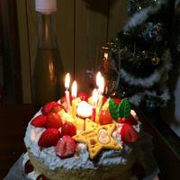 シフォンケーキでクリスマスケーキ