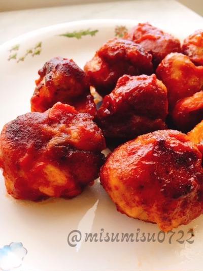 【お弁当に】豚こまボールのケチャップ煮込み