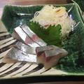 シマアジの刺身と野菜の天ぷら