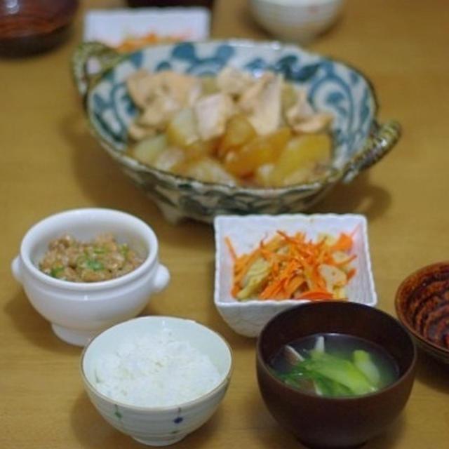 鶏肉と大根の旨煮と、人参と蓮根の金平。うちのタケオさん、その後・・