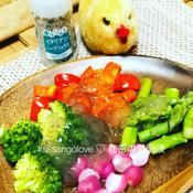 彩り蒸し野菜のサラダ 出汁ジュレドレッシング