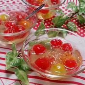 トマトと一緒に☆サイダーでいただくレモングラスのジュレ☆